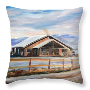 Log Cabin House In Winter Throw Pillow by Sherril Porter