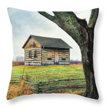Throw Pillow featuring the photograph Log Cabin - Paradise Springs - Kettle Moraine State Forest by Jennifer Rondinelli Reilly - Fine Art Photography