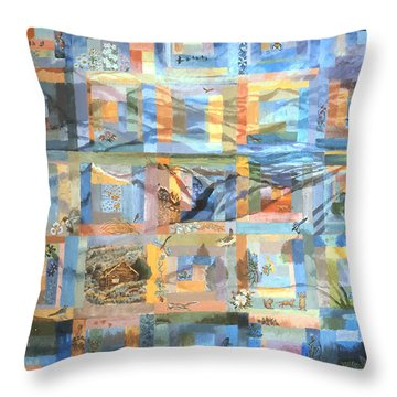 Throw Pillow featuring the painting Log Cabin Quilt by Dawn Senior-Trask
