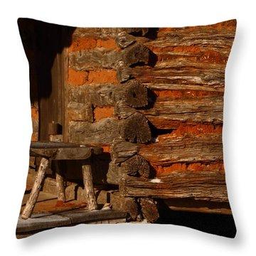 Log Cabin Throw Pillow by Robert Frederick