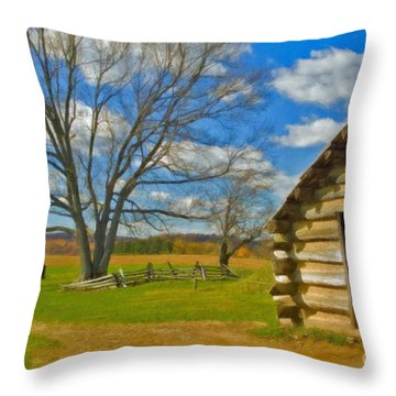 Throw Pillow featuring the photograph Log Cabin Valley Forge Pa by David Zanzinger