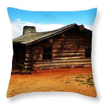 Log Cabin Yr 1800 Throw Pillow by Joseph Frank Baraba
