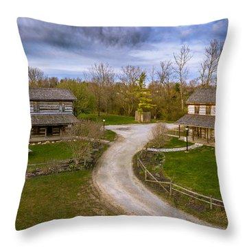 Log Cabins Throw Pillow