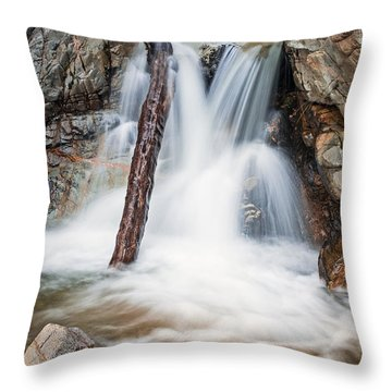 Log In The Waterfall Throw Pillow