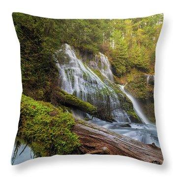Log Jam By Panther Creek Falls Throw Pillow