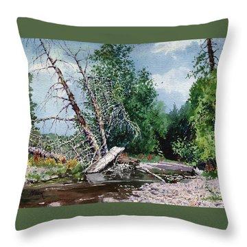 Log Jam Throw Pillow by Donald Maier