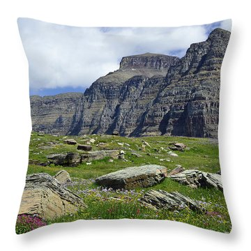 Logan Pass Meadow And Mountains In Glacier National Park Throw Pillow