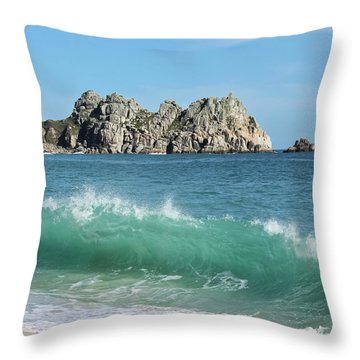 Throw Pillow featuring the photograph Logan Rock Porthcurno Cornwall by Terri Waters