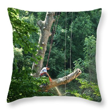 Logger Cutting Down Large, Tall Tree Throw Pillow