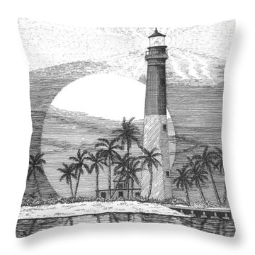 Loggerhead Key Lighthouse Throw Pillow by Lawrence Tripoli