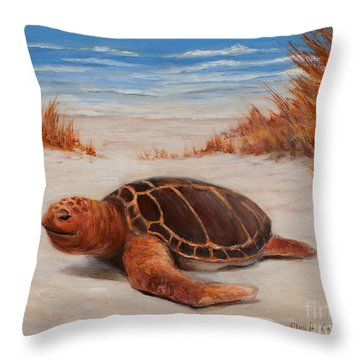 Loggerhead Turtle Throw Pillow