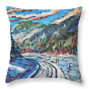 Loggers Road  Throw Pillow by Richard T Pranke