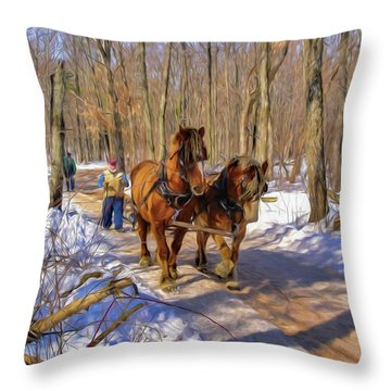 Logging Horses 1 Throw Pillow by Trey Foerster
