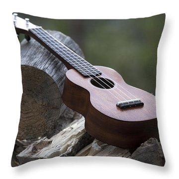 Logpile Ukulele Throw Pillow
