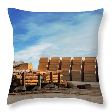 Logs And Plywood At Lumber Mill Throw Pillow