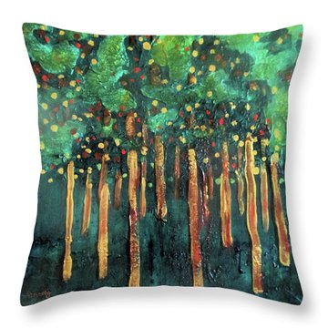 Throw Pillow featuring the painting Lollipop Trees by Valerie Anne Kelly