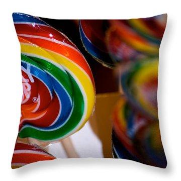 Lollipops Throw Pillow by Lisa Knechtel