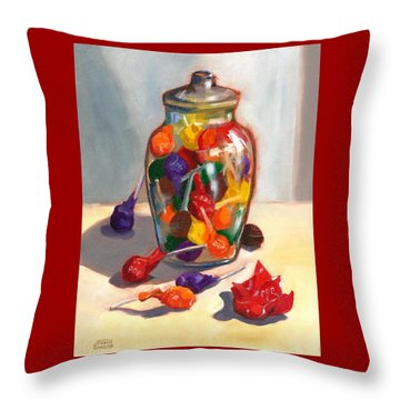 Throw Pillow featuring the painting Lollipops by Susan Thomas