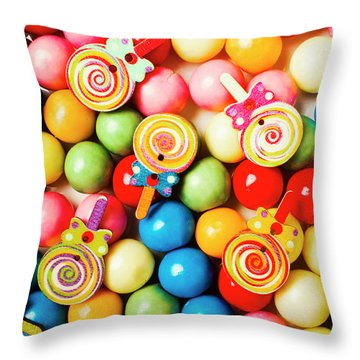 Lolly Shop Pops Throw Pillow