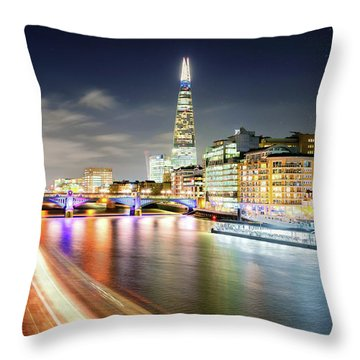 London At Night With Urban Architecture, Amazing Skyscraper And Boat At Thames River, United Kingdom Throw Pillow