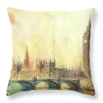 London Big Ben And Thames River Throw Pillow by Juan Bosco
