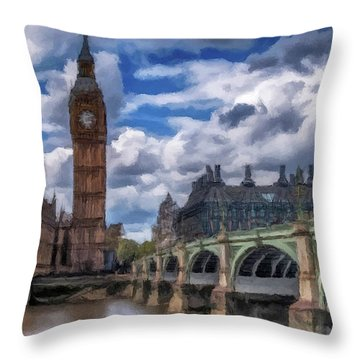 Throw Pillow featuring the painting London Big Ben by David Dehner
