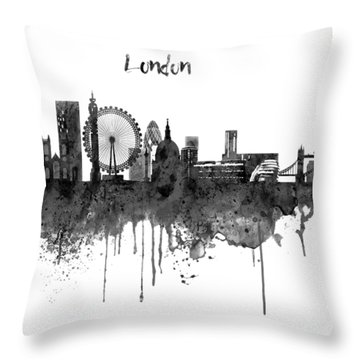 London Black And White Skyline Watercolor Throw Pillow