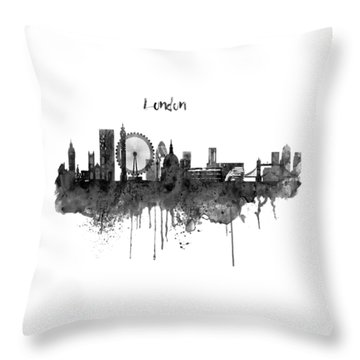 London Black And White Skyline Watercolor Throw Pillow by Marian Voicu