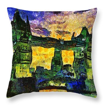 Throw Pillow featuring the digital art London Bridge by Ian Mitchell