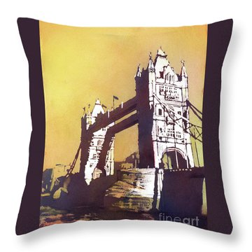 Throw Pillow featuring the painting London Bridge- Uk by Ryan Fox