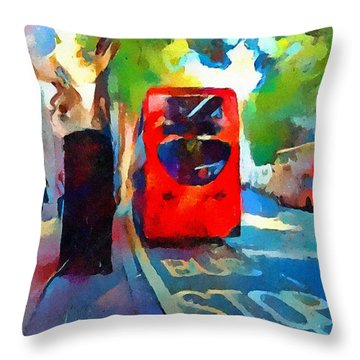 London Bus Stop Throw Pillow