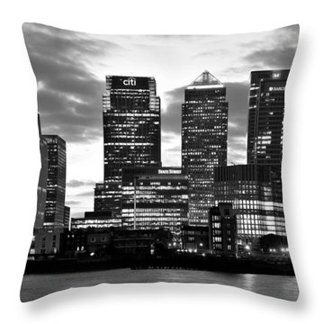 London Canary Wharf Monochrome Throw Pillow by Marek Stepan