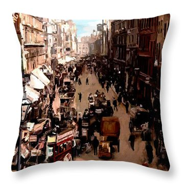 Throw Pillow featuring the painting London Cheapside by James Shepherd