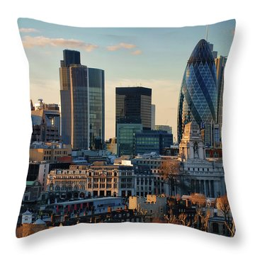 Throw Pillow featuring the photograph London City Of Contrasts by Lois Bryan