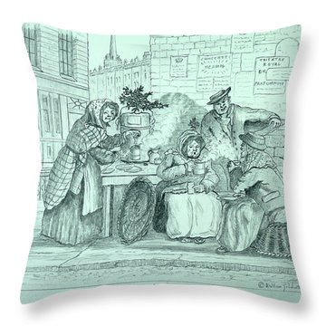 London Coffee Stall Throw Pillow
