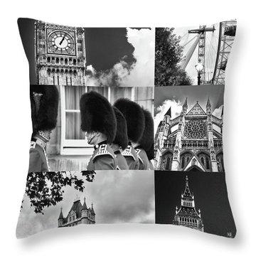 London Collage Bw Throw Pillow