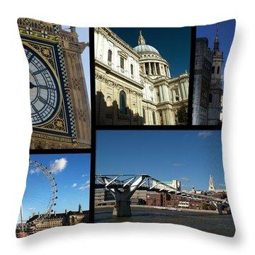 London Collage Throw Pillow