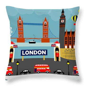 London England Horizontal Scene - Collage Throw Pillow by Karen Young