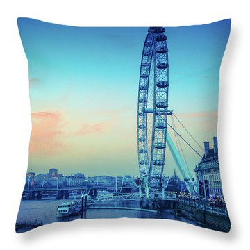 London Eye At Dusk Throw Pillow by Lana Enderle