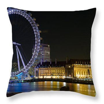 London Eye At Night Throw Pillow by Clarence Holmes