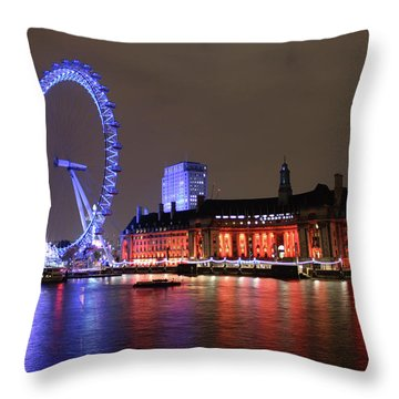 London Eye By Night Throw Pillow by RKAB Works