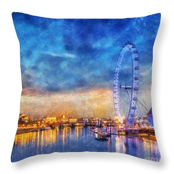 Throw Pillow featuring the photograph London Eye by Ian Mitchell