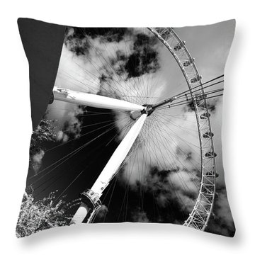 London Ferris Wheel Bw Throw Pillow
