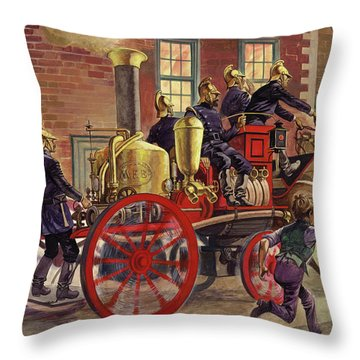 London Fire Engine Of Circa 1860 Throw Pillow