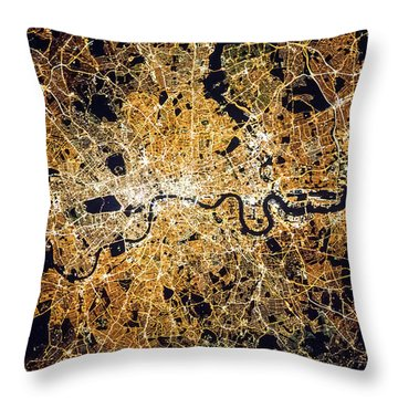 Throw Pillow featuring the photograph London From Space by Delphimages Photo Creations