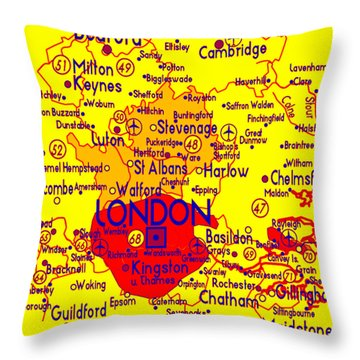 Throw Pillow featuring the drawing London Map Mock-up by Digital Art Cafe