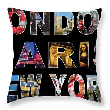 Throw Pillow featuring the digital art London Paris New York, Black Background by Adam Spencer