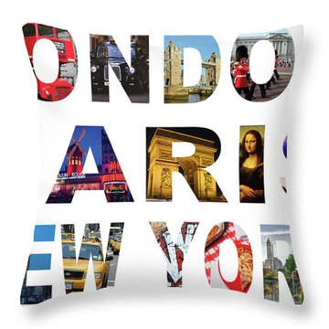 Throw Pillow featuring the digital art London Paris New York, White Background by Adam Spencer
