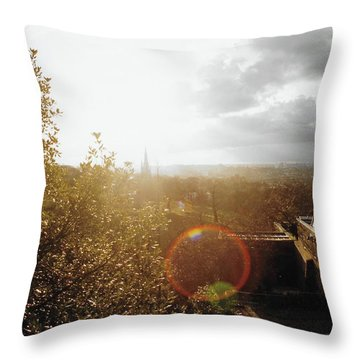 London Partialy Cloudy With A Chance Of Flare Throw Pillow by Patrick Murphy