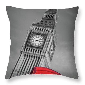 London Phone Booth And Big Ben Throw Pillow